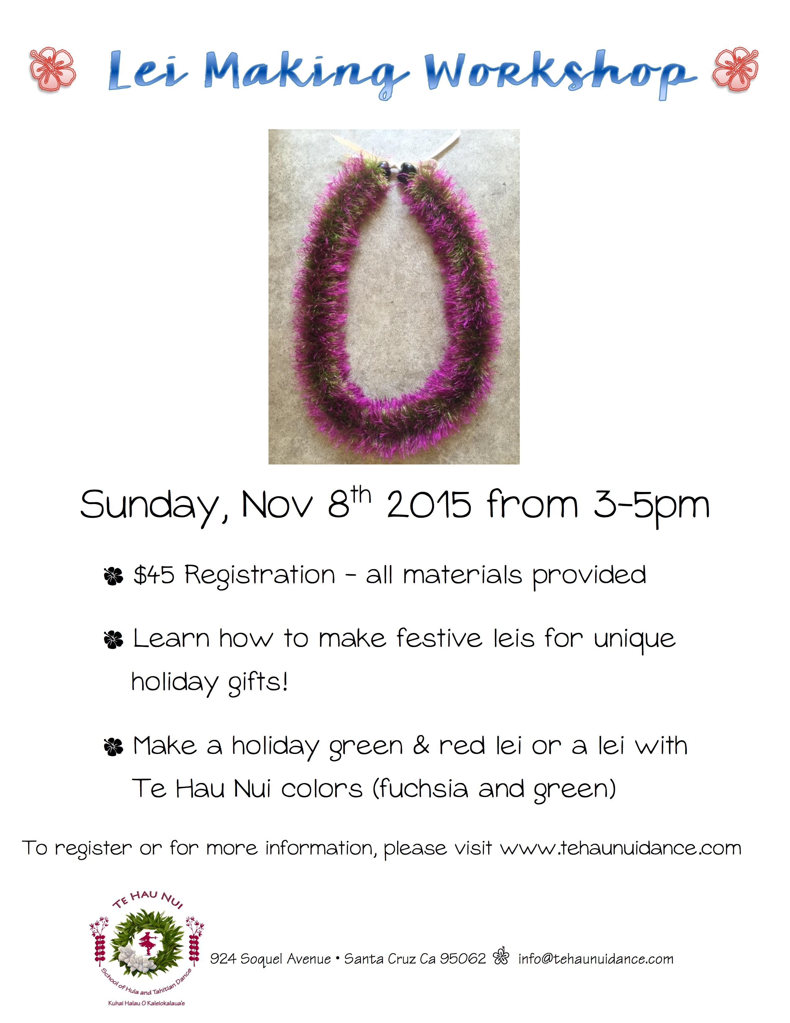Lei Making Workshop @ Te Hau Nui School of Hula and Tahitian Dance Studio | Santa Cruz | California | United States